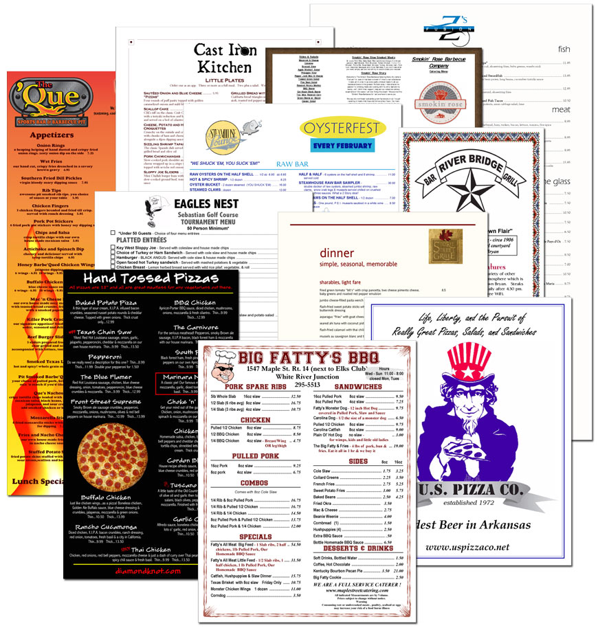 MenuPro menus with customer logos