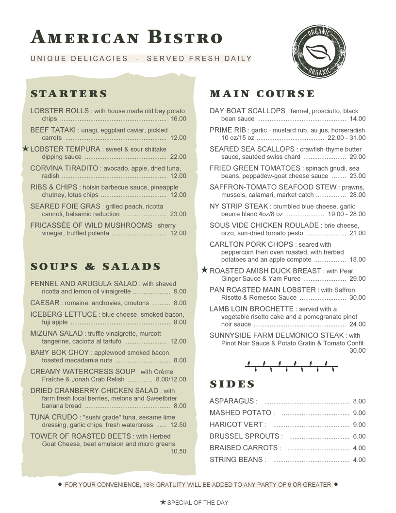 MenuPro Menu Design Samples From Software