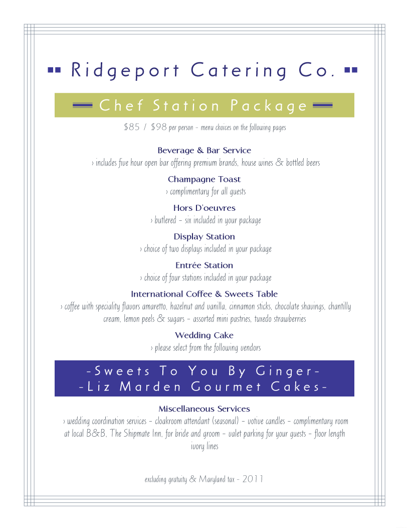 menu example ridgeport catering