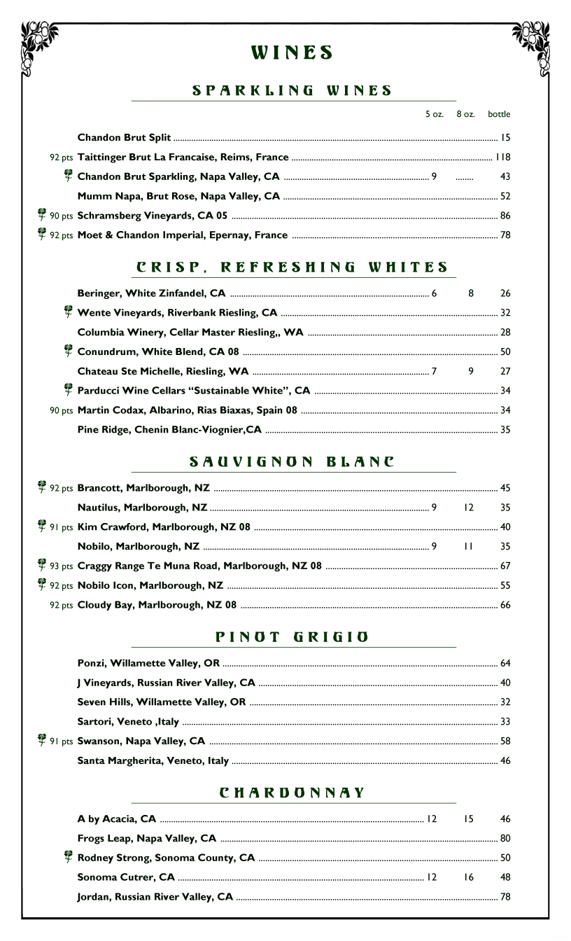 Sample Wine Menu Template | Menupro Menu Design Samples From Menupro Menu Software More Than